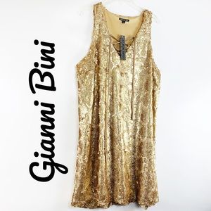 Gianni Bini $129 NWT Gold Sequin Party Dress Large